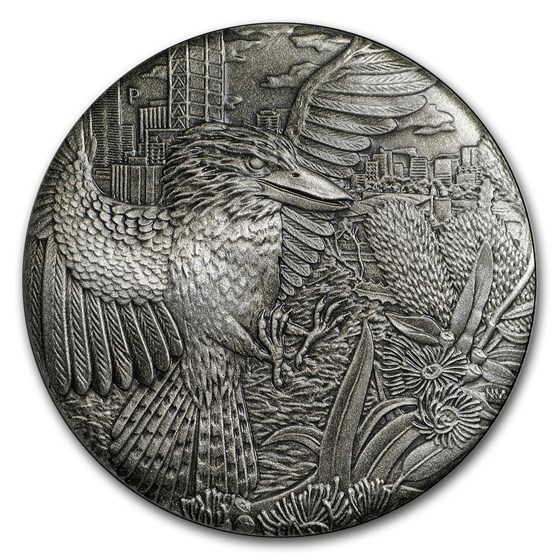 2018 Australia 2 oz Silver High Relief Kookaburra Prf (Antiqued)