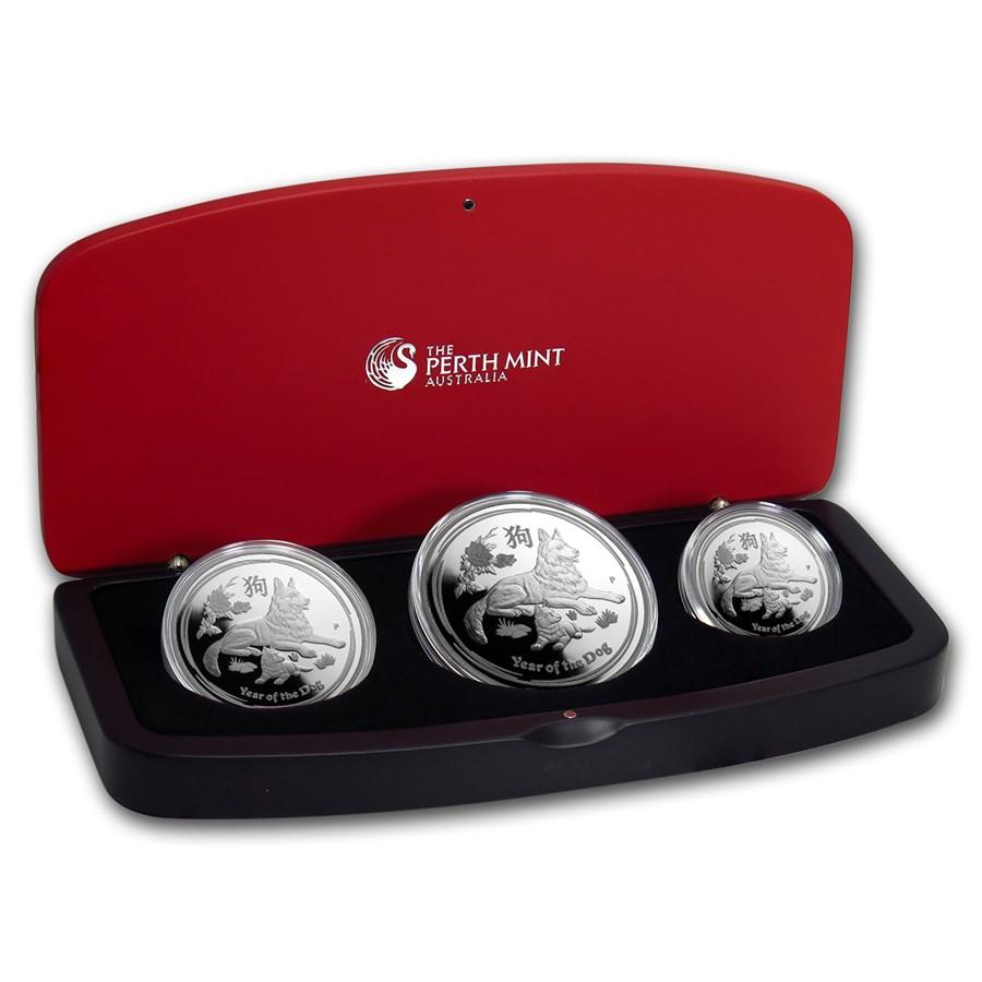 2018 Australia 3-Coin Silver Lunar Dog Proof Set