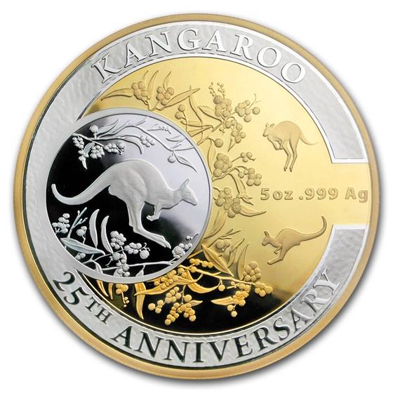 2018 Australia 5 oz Silver $10 Kangaroo 25th Anniv (w/Box & COA)
