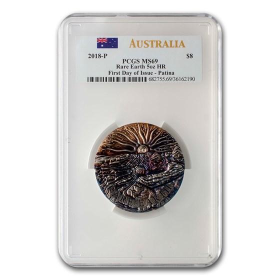 2018 Australia 5 oz Silver Rare Earth Patina MS-69 PCGS (HR)