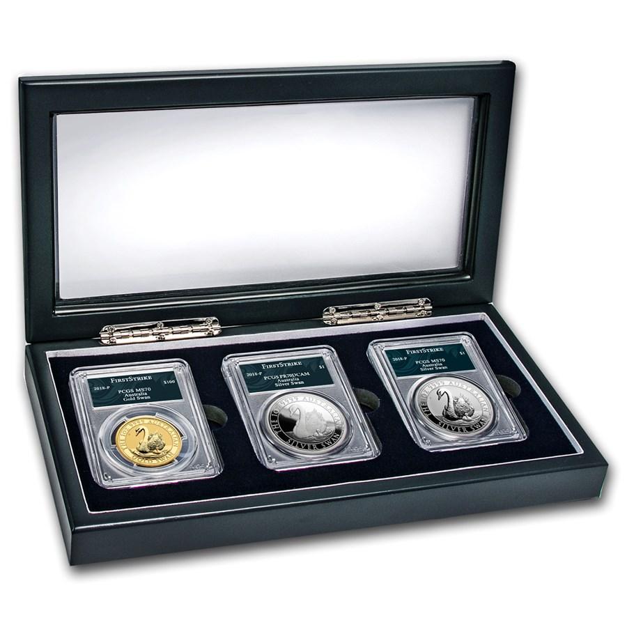 2018 Australia Swan 3-Coin Set MS/PR-70 PCGS (FS, Swan Label)
