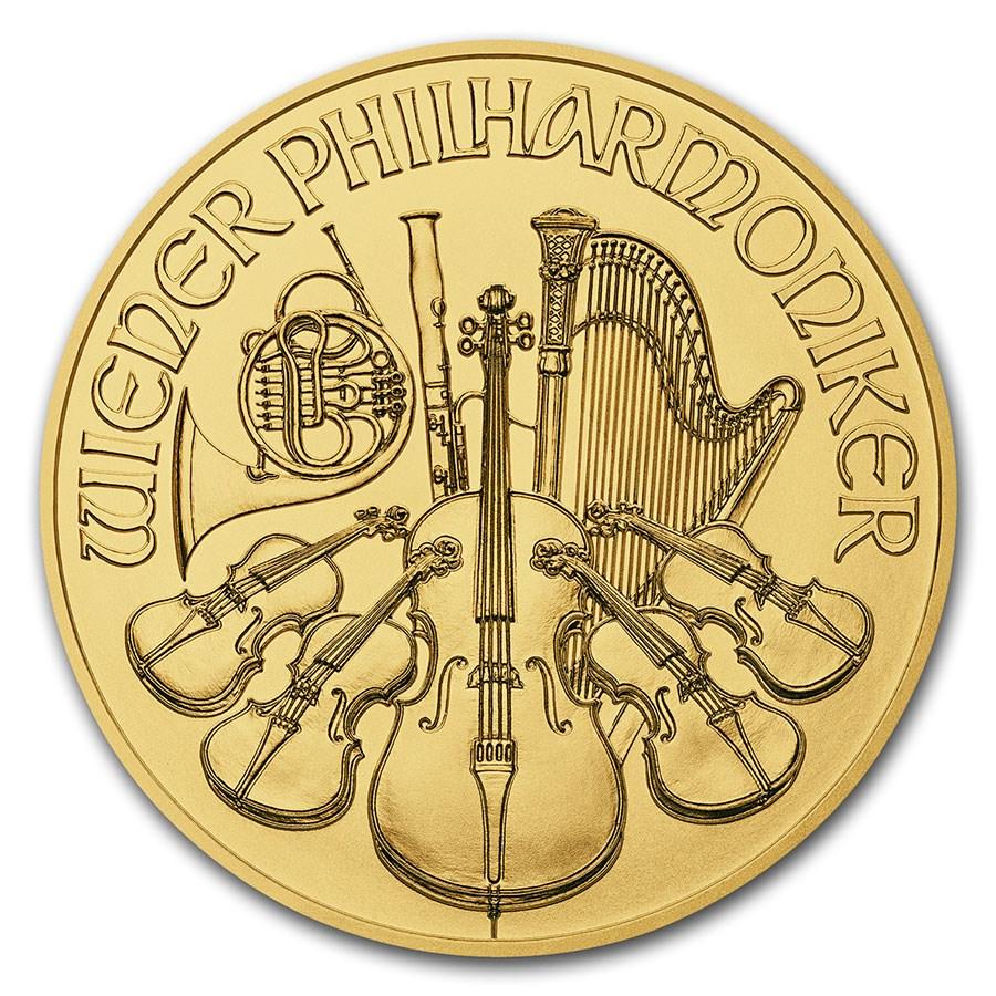 2018 Austria 1/25 oz Gold Philharmonic BU