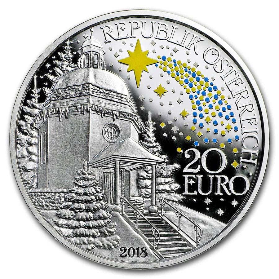 2018 Austria Ag €20 200th Anniv. of Silent Night (Luminescent)