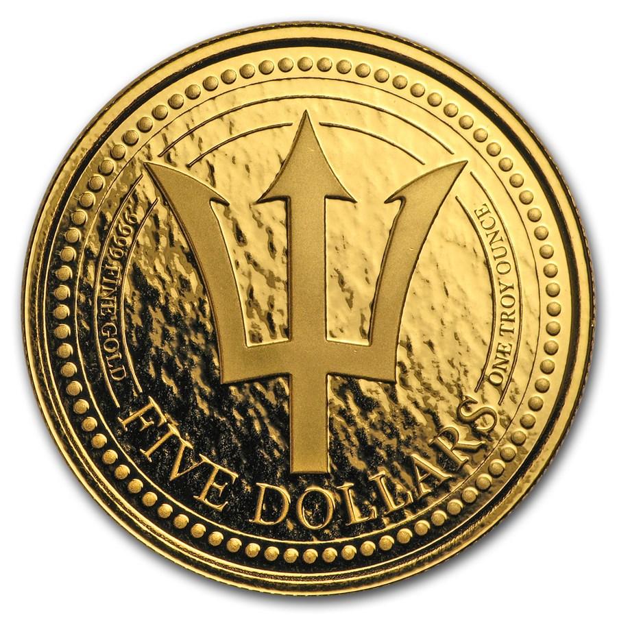 2018 Barbados 1 oz Gold Trident BU
