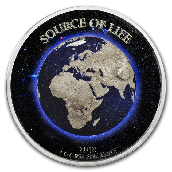 2018 Benin 1 oz Silver 1,000 Francs Source of Life: the Earth