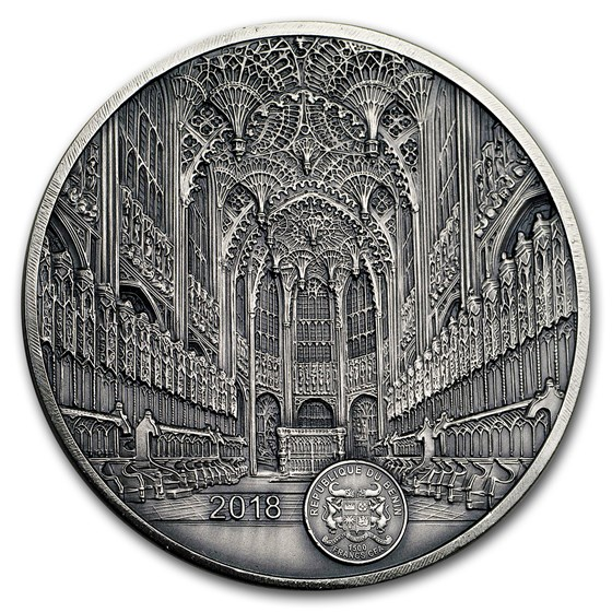 2018 Benin 100 gram Silver 1,500 Fr Mauquoy Westminster Abbey