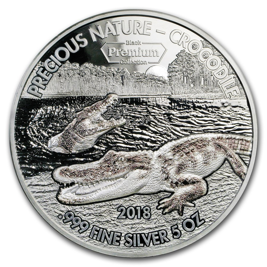 2018 Benin 5 oz Silver 5,000 Francs Precious Nature Crocodile
