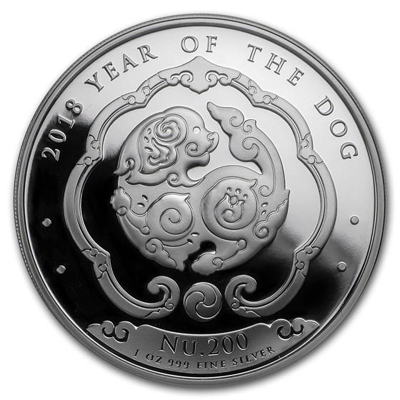 2018 Bhutan 1 oz Silver Lunar Dog BU