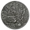 2018 BIOT 2 oz Silver £4 High Relief Antique Hercules & Hydra