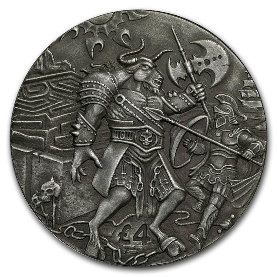 2018 BIOT 2 oz Silver £4 High Relief Antique The Minotaur