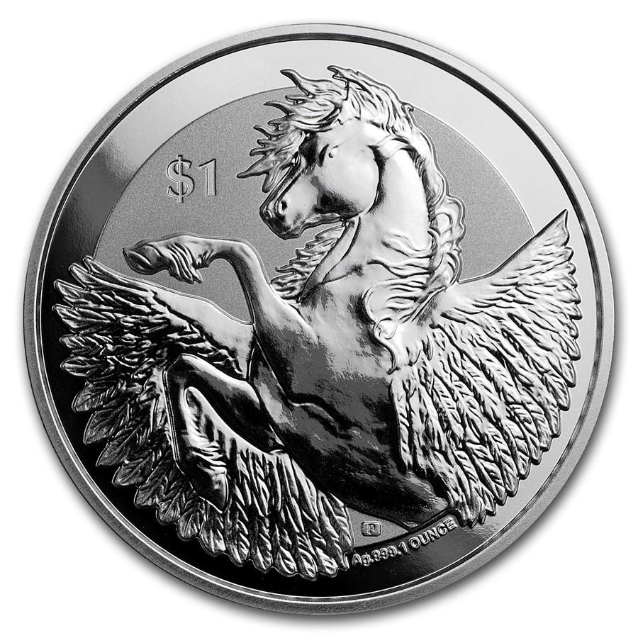 2018 BVI 1 oz Silver Pegasus Reverse Frosted BU