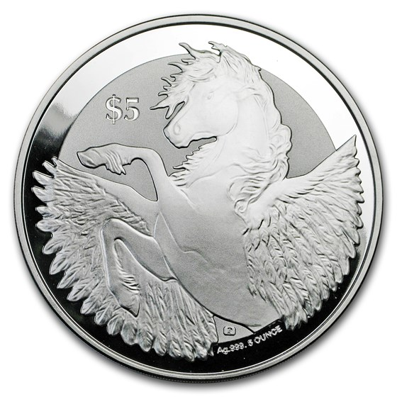 2018 BVI 5 oz Silver Pegasus Reverse Frosted (Abrasion, Spotted)