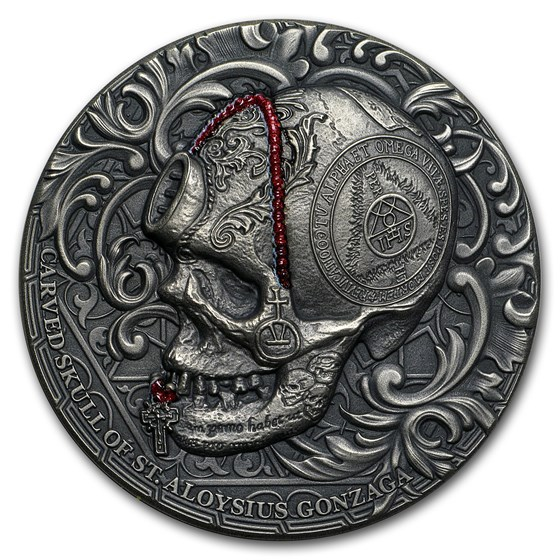 2018 Cameroon 1 oz Silver Carved Skull II Aloysius Gonzaga Bones