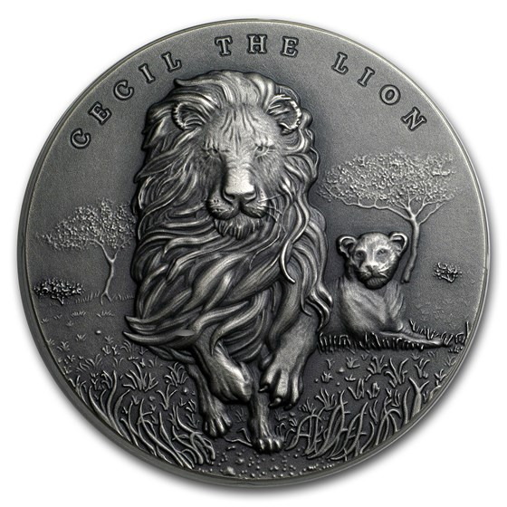 2018 Cameroon 2 oz Silver Antique Cecil the Lion