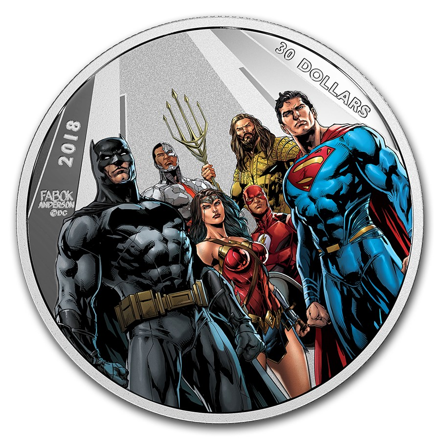 2018 CAN 2 oz Ag $30 Justice League™ World's Greatest Superheroes
