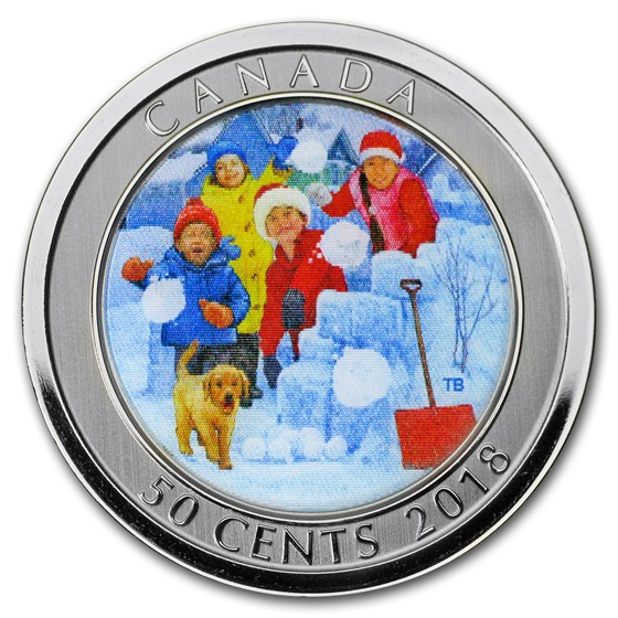2018 Canada $0.50 Lenticular Snowball Fight