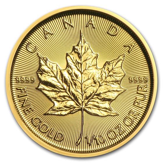 2018 Canada 1/10 oz Gold Maple Leaf BU