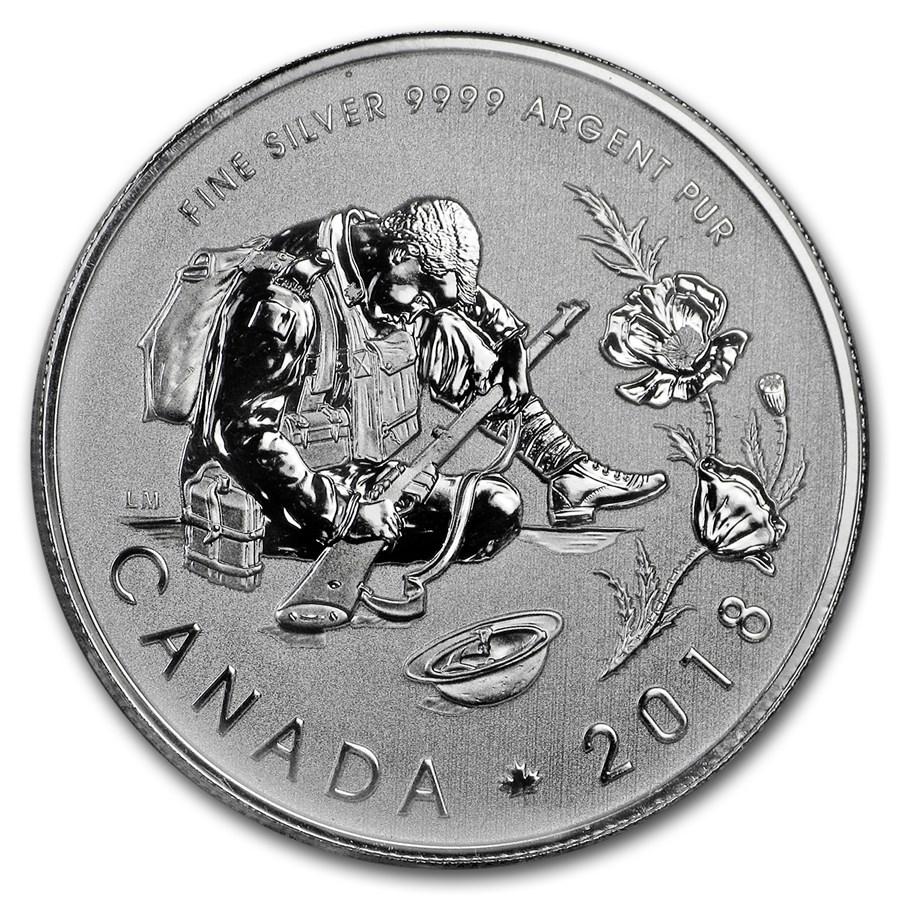 2018 Canada 1/2 oz Silver $10 Armistice BU