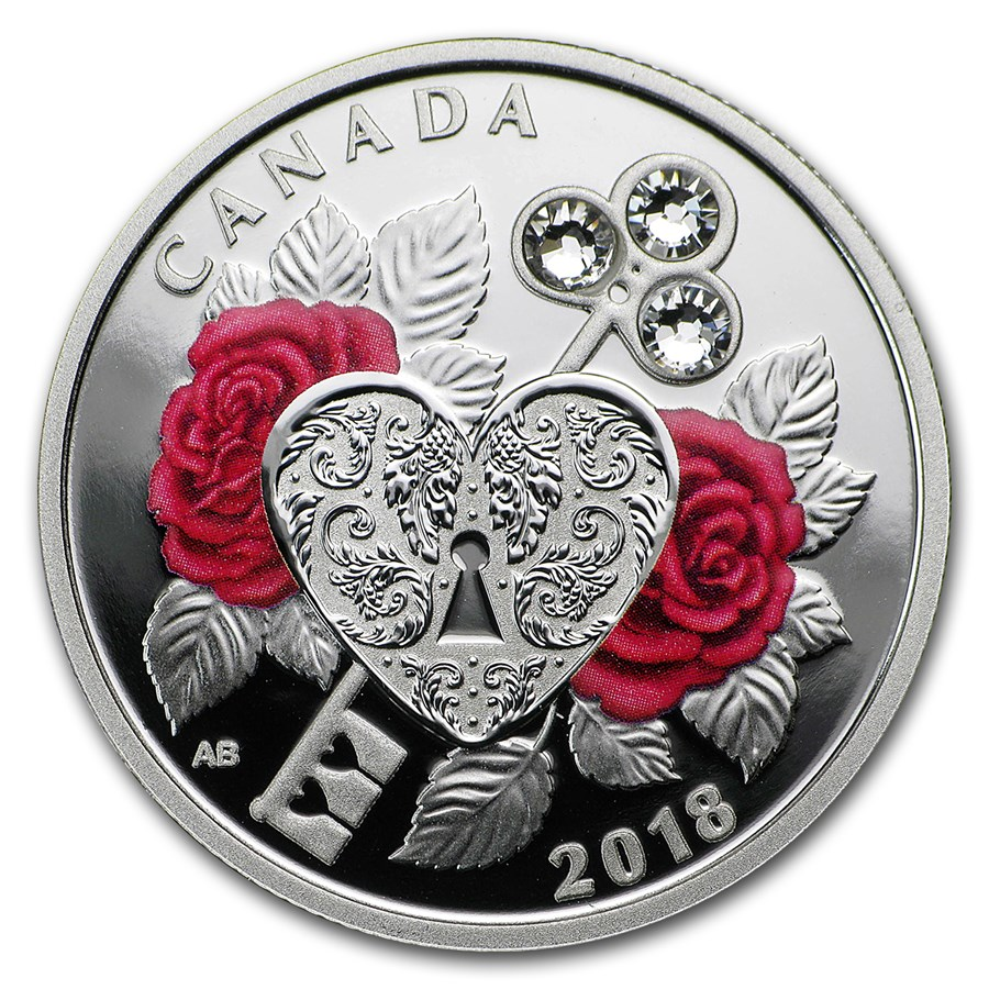 2018 Canada 1/4 oz Silver $3 Celebration of Love (Roses)