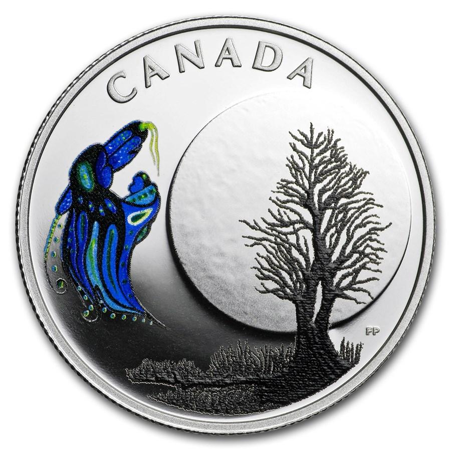 2018 Canada 1/4 oz Silver $3 Thirteen Teachings Big Spirit Moon