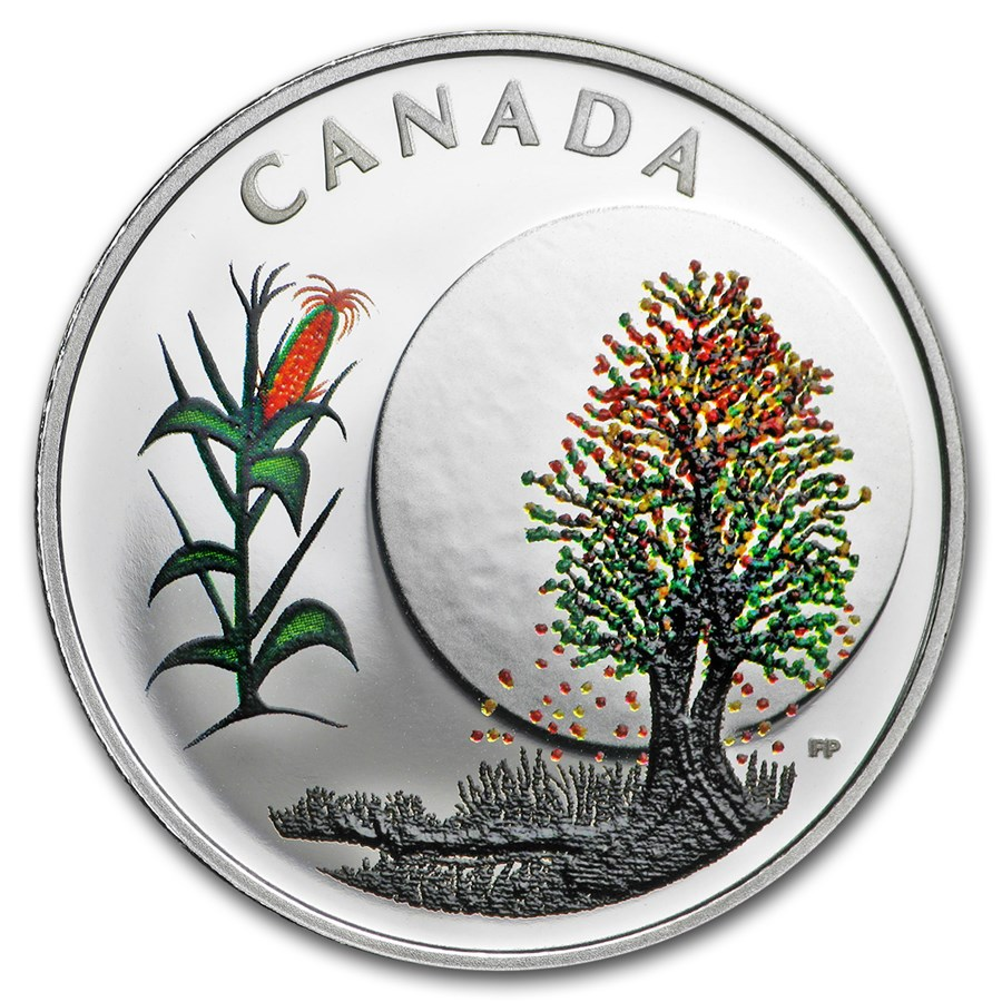 2018 Canada 1/4 oz Silver $3 Thirteen Teachings Corn Moon