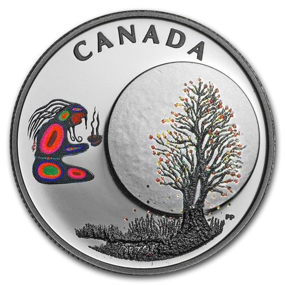 2018 Canada 1/4 oz Silver $3 Thirteen Teachings Falling Leaves