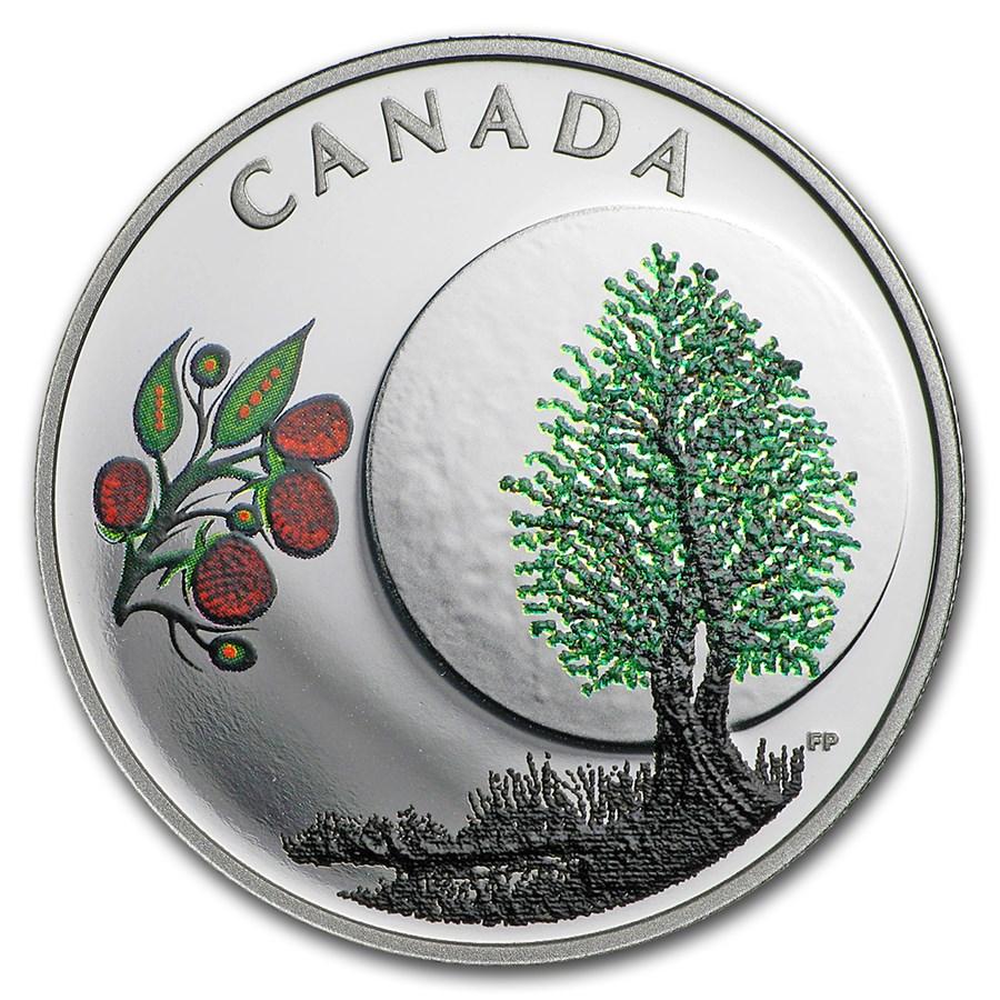 2018 Canada 1/4 oz Silver $3 Thirteen Teachings Raspberry Moon
