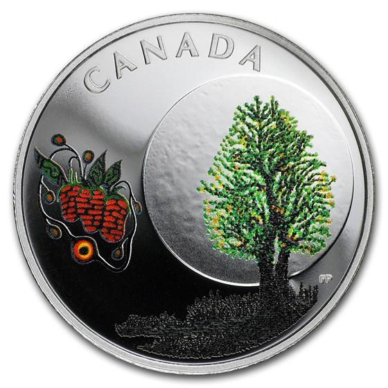 2018 Canada 1/4 oz Silver $3 Thirteen Teachings Strawberry Moon