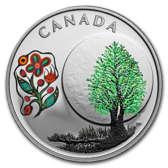 2018 Canada 1/4 oz Silver $3 Thirteen Teachings Thimbleberry Moon
