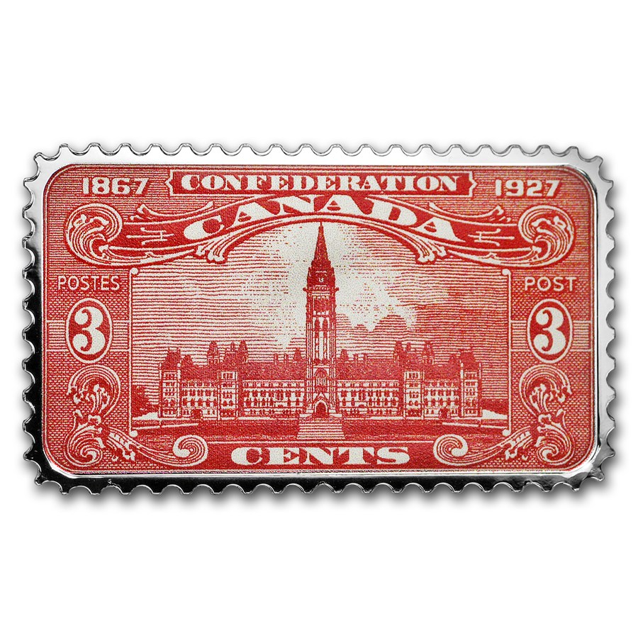 2018 Canada 1 oz Ag $20 Historical Stamps: Parliament Building