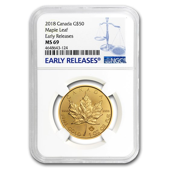 2018 Canada 1 oz Gold Maple Leaf MS-69 NGC (Early Releases)