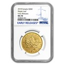 2018 Canada 1 oz Gold Maple Leaf MS-70 NGC (Early Release)