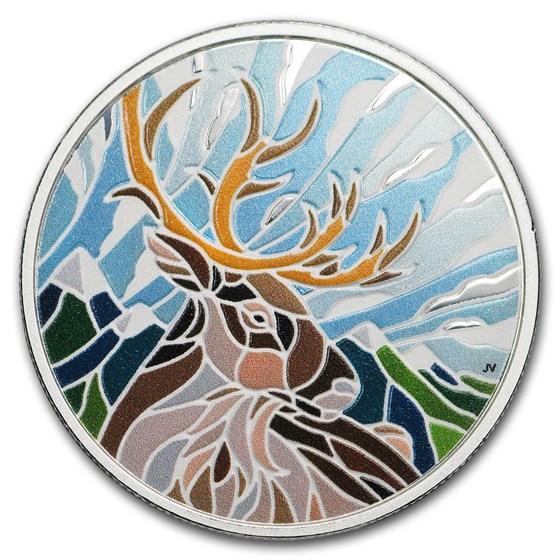 2018 Canada 1 oz Proof Silver $20 Canadian Mosaics: Caribou