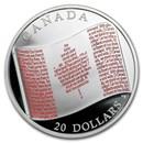 2018 Canada 1 oz Silver $20 Canadian Flag
