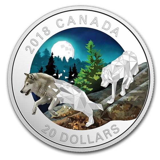 2018 Canada 1 oz Silver $20 Geometric Fauna: Grey Wolves