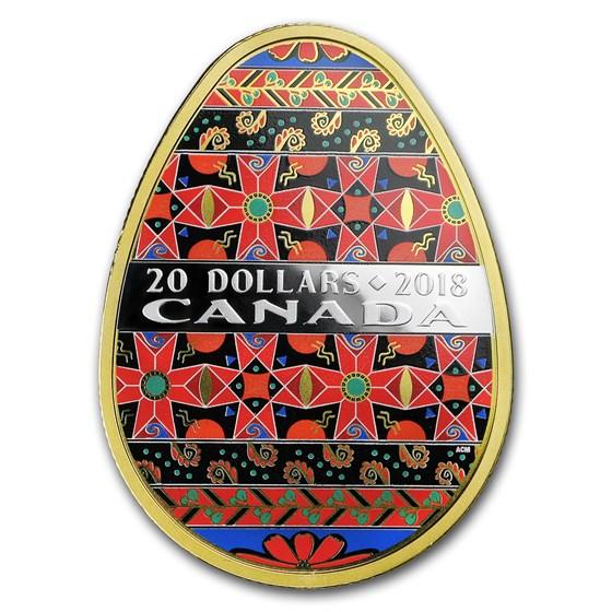2018 Canada 1 oz Silver $20 Golden Spring Pysanka