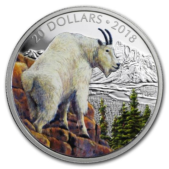 2018 Canada 1 oz Silver $20 Majestic Wild: Mountain Goat