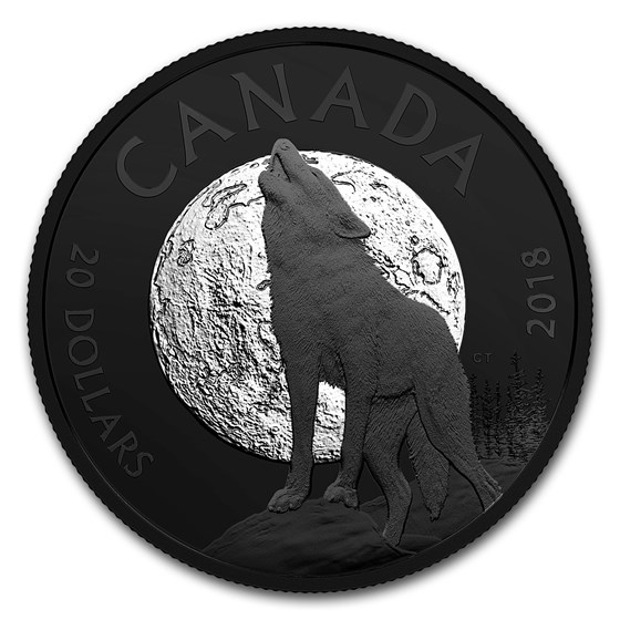 2018 Canada 1 oz Silver $20 Nocturnal By Nature: The Howling Wolf