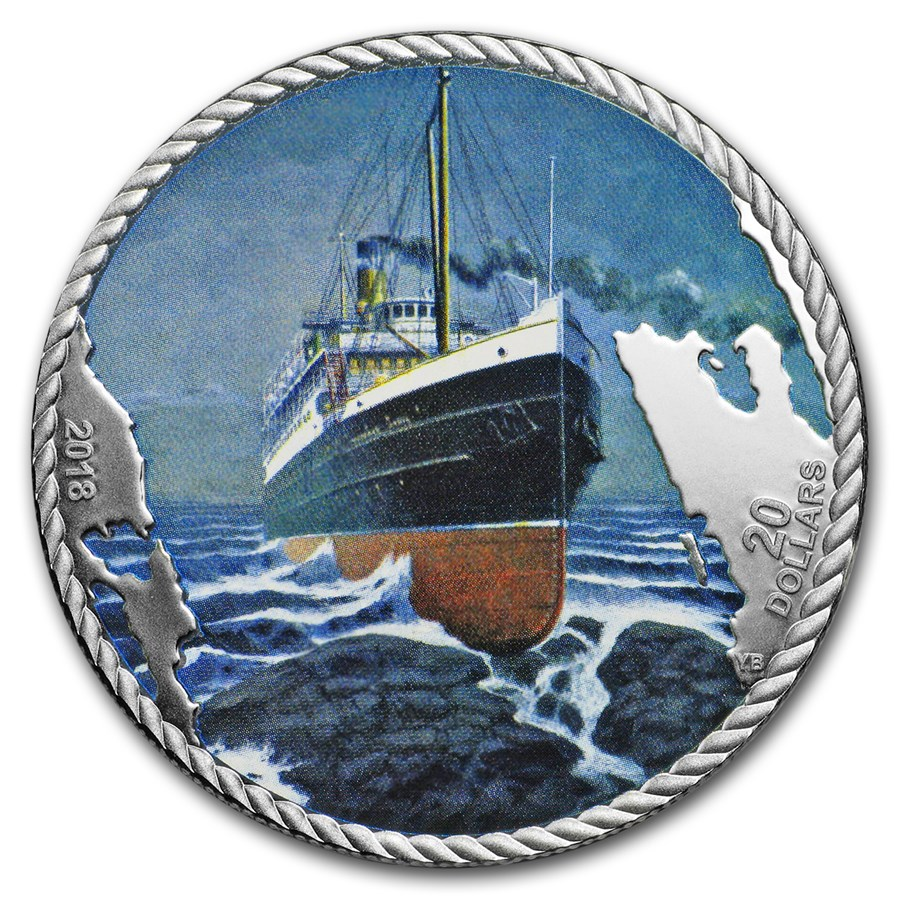 2018 Canada 1 oz Silver $20 The Sinking of the SS Princess Sophia