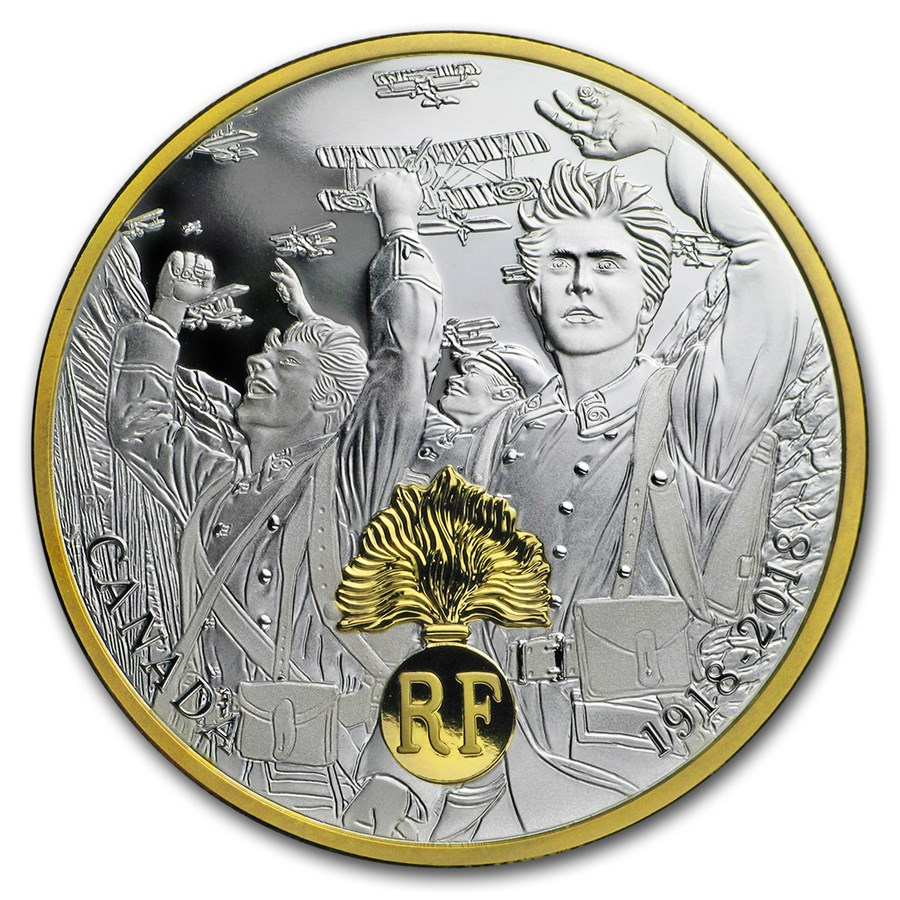 2018 Canada 1 oz Silver $20 WWI Allied Forces: France