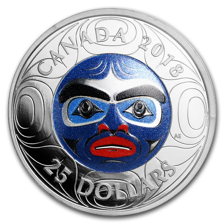 2018 Canada 1 oz Silver $25 Ancestor Moon Mask UHR (Colorized)