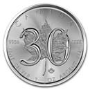 2018 Canada 1 oz Silver Maple Leaf 30th Anniversary BU