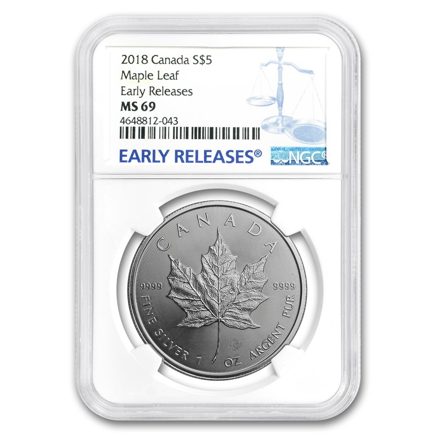 2018 Canada 1 oz Silver Maple Leaf MS-69 NGC (Early Release)