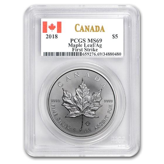2018 Canada 1 oz Silver Maple Leaf MS-69 PCGS (FirstStrike®)