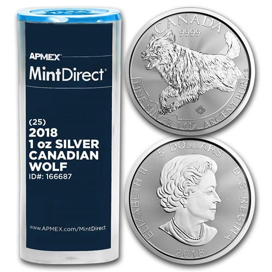 2018 Canada 1 oz Silver Predator Wolf (25-Coin MintDirect® Tube)