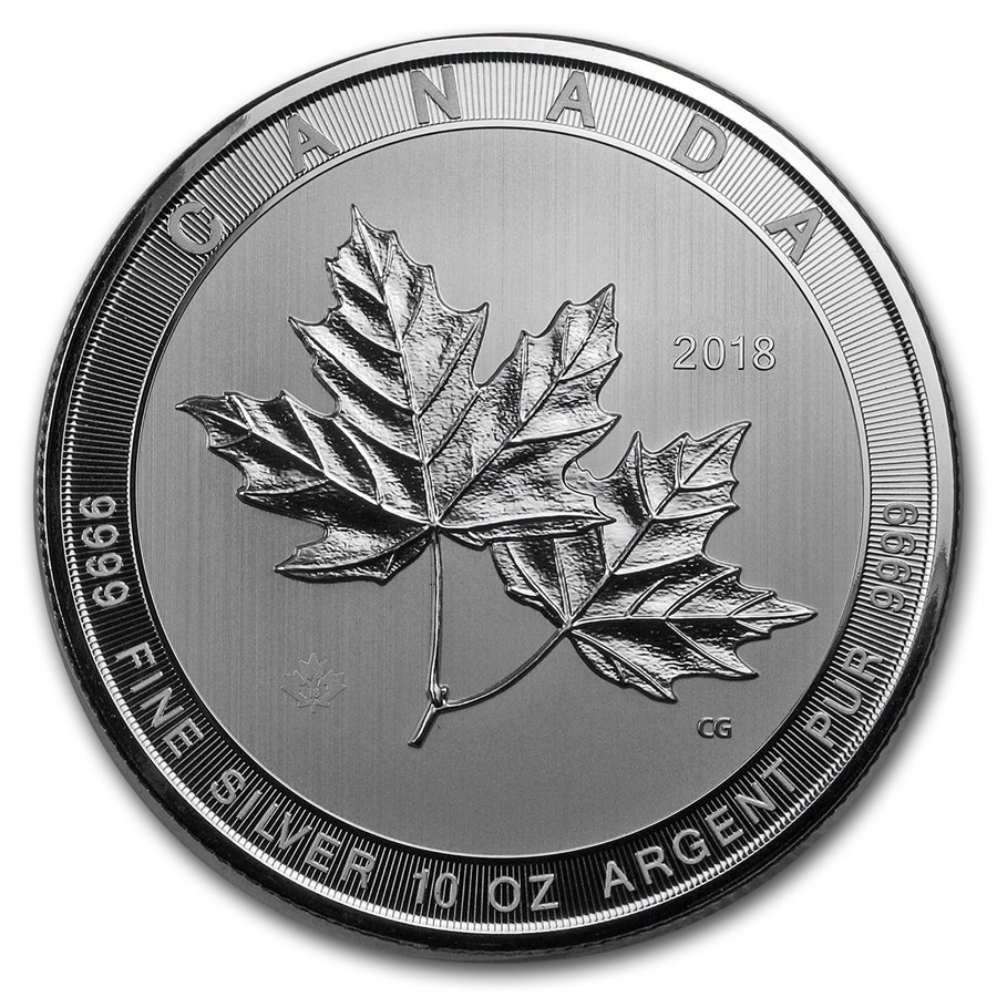 2018 Canada 10 oz Silver $50 Magnificent Maple Leaves BU