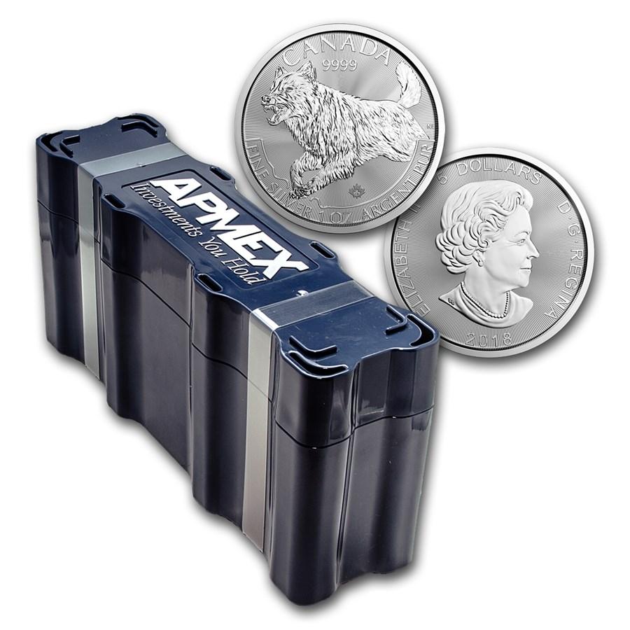 2018 Canada 100-Coin Silver Predator Wolf APMEX Mini Monster Box