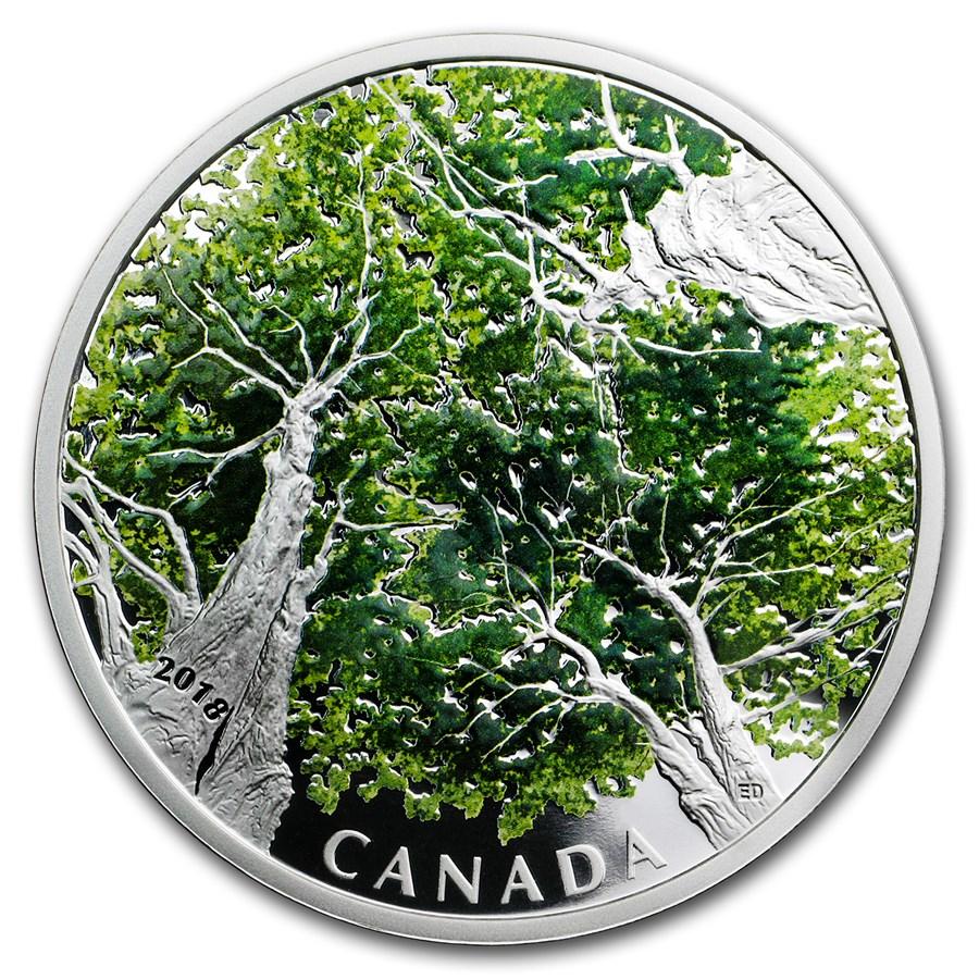 2018 Canada 2 oz Silver $30 Canadian Canopy: The Maple Leaf