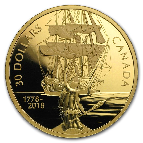2018 Canada 2 oz Silver $30 Captain Cook and the HMS Resolution