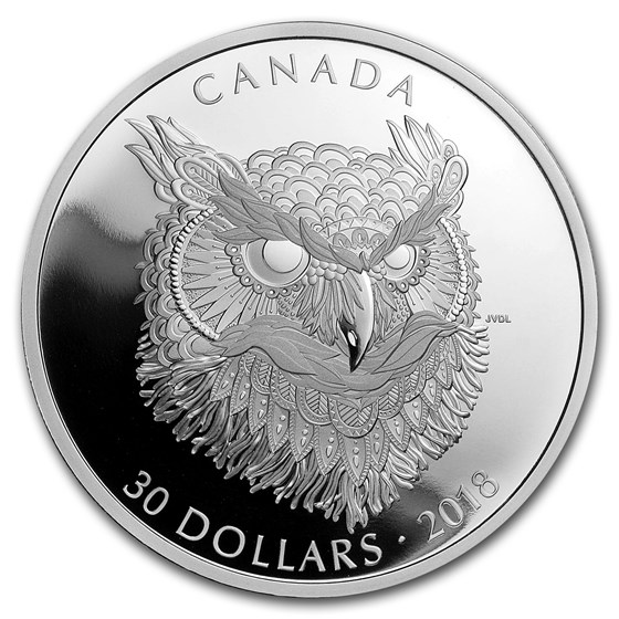 2018 Canada 2 oz Silver $30 Zentangle Art: The Great Horned Owl